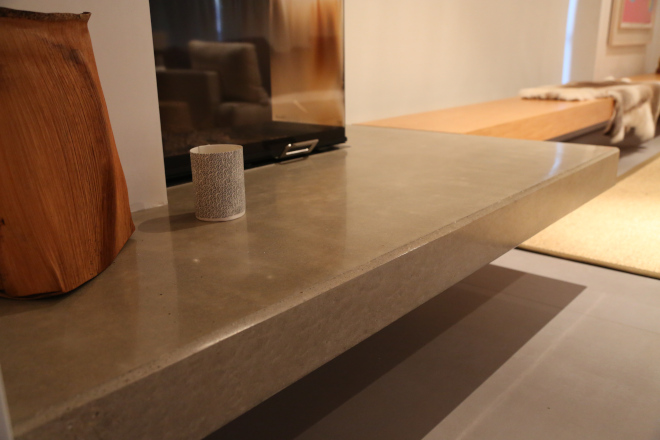 A Polished Concrete Benchtop In A House in Lennox Head