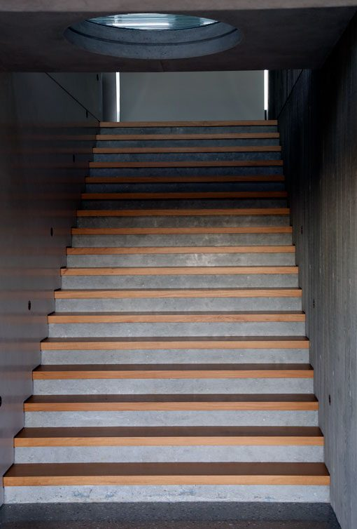 A set of Polished Concrete Stairs in a Byron Bay house
